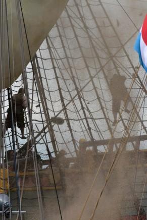 De opnames van de zeeslagen vonden plaats op het Markermeer. (foto's E.J. Bruinekool Fotografie)