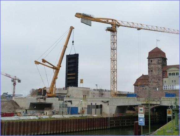 Bouw van de nieuwe sluis in Minden. (foto NBA Hannover)