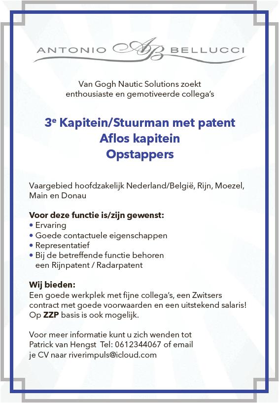 3e Kapitein/Stuurman met patent, Aflos kapitein, Opstappers