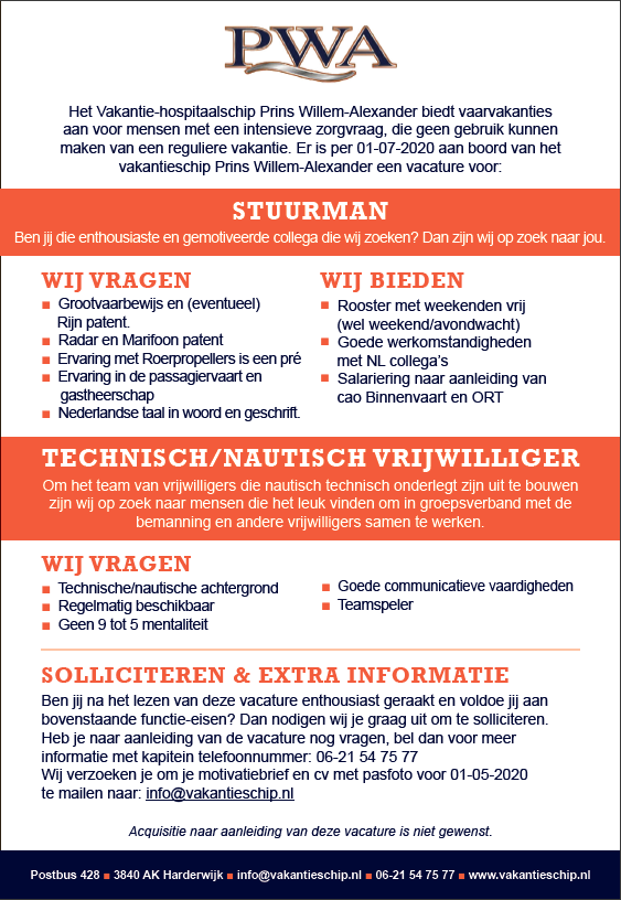 Stuurman & Technisch/Nautisch vrijwilliger