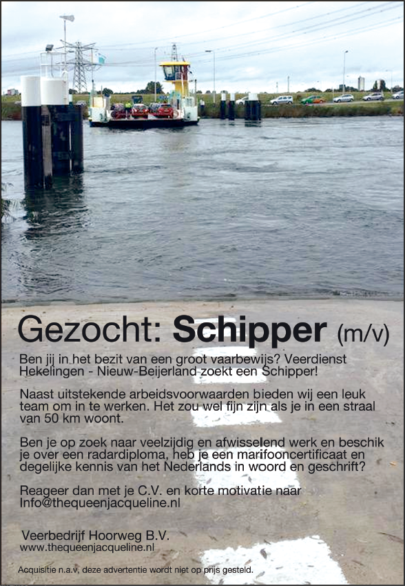 Gezocht: Schipper (m/v)