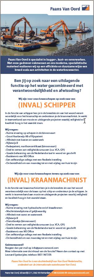 Wij zijn op zoek naar een (INVAL) SCHIPPER en een (INVAL) KRAANMACHINIST